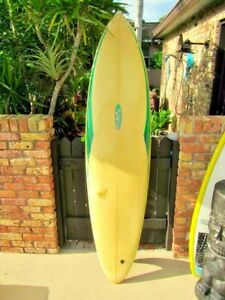 VINTAGE MIKE EATON BONZER COLORFUL SURFBOARD SINGLE FIN FISH CALIFORNIA SURFING
