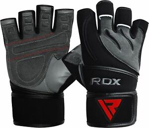 RDX Weight Lifting Body Building Gym Training Fitness Gloves Straps Leather New $16.79