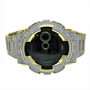Men's G-Shock DW6900 Yellow Gold Tone Custom Bezel Full Cz's Band Designer Watch