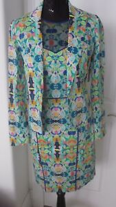 Milly 2 Piece Kaleidoscope Mesh Racer Back Dress Jacket Exposed Zipper Sz 6