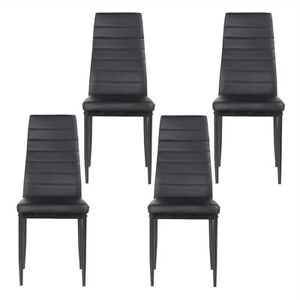 Set of 4 Black Stunning Leather Dining Chairs kitchen Dining Room Furniture