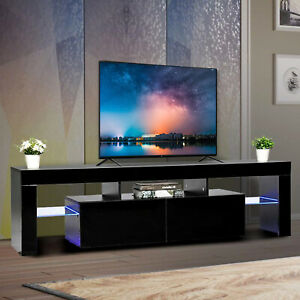 63quot; High Gloss TV Stand Entertainment Center Furniture Console Cabinet Black $165.99