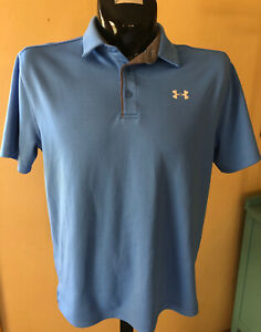 Under Armour Heat Gear Loose Fit Mens Blue Polo Shirt Size L Large