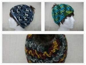 Colorful Crochet Messy Bun Pony Tail Beanie Hat *Choose Color* Teens Womens $7.00