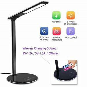 LED Desk Light With Wireless Qi Phone Charger For iPhone ,Samsung Galaxy (Black)