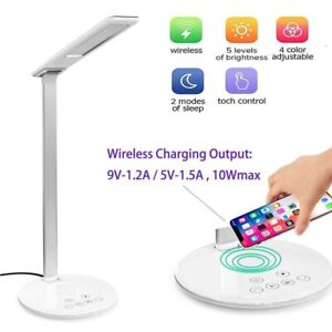 LED Desk Light With Wireless Qi Phone Charger For iPhone ,Samsung Galaxy (White)