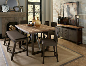 Two-Tone Brown Finish 6pcs Counter Height Dining Room Set Table Bench Chair IC4B