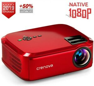 Crenova Native 1080P LCD Video Projector 5500 Lux HDMI TV Stick HDMI VGA USB