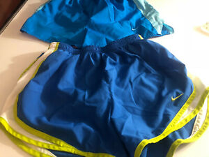 LOT of (2) Nike Womens Workout Shorts Blue Small S With Liners Liner (S3)