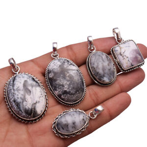 500pcs Natural Dendrite Opal Pendant 925 Sterling Silver Plated Handmade Pendant