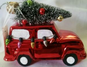 NW CHRISTMAS HOLIDAY RED SUV TRUCK WITH TREE & LIGHTS HOLIDAY DECOR ORNAMENTS