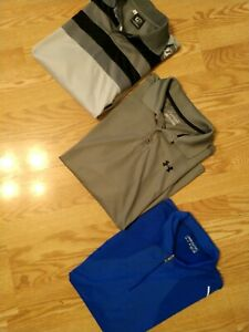 MEN'S SIZE L SHIRT (LOT OF 3) NIKE UNDER ARMOUR & UNICOSPORTS GOLF POLO SHIRT