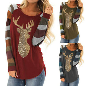 Women Christmas Tops Stripe Sequin Deer O-Neck Long Sleeve Shirt Blouse Clothes