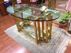 Elegant Design Table with Brass base and Crystal top