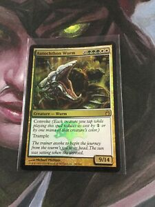 1 FOIL Autochthon Wurm Gold Ravnica City of Guilds Mtg Magic Rare 1x x1 Mp