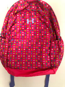 Under Armour Storm Hustle II Backpack Pink Polka Dots Yellow Blue Girls Womens