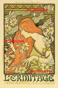 Art Nouveau Advertising Print L#x27;Ermitage Paul Berthon Red Haired Woman Poster $15.00