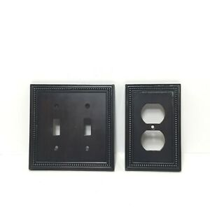 Lot of 2 LHMC 2 Toggle Wall Switch Plate& Duplex Outlet Cover Beaded Dark Bronze