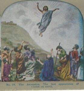 The Ascension.  Last Appearance of Christ Original Circa 1900 Stereoview Card