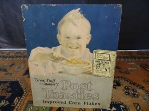 antique stand up advertising poster postum post toasties ceral store display old $35.00