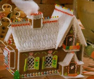 GINGERBREAD HOUSE STORAGE BOX CHRISTMAS PLASTIC CANVAS PATTERN INSTRUCTIONS $3.50