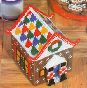 GINGERBREAD HOUSE CHRISTMAS PLASTIC CANVAS PATTERN INSTRUCTIONS $2.00