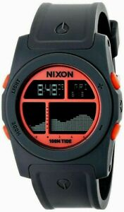 Authentic Nixon Rhythm Gray Neon Orange A3851689 Digital Tide Graph Sport Watch