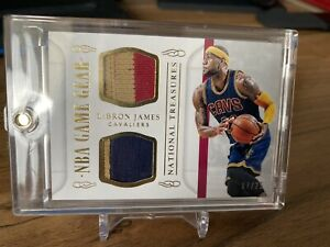 Lebron James National Treasures Game Gear Dual Patch 25