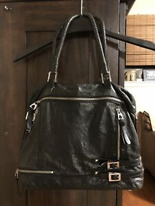 Donald J. Pliner Designer Handbag Purse Black Leather with Braided Straps