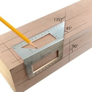 Aluminum Woodworking Scriber T Ruler Multifunction 45 90 Degree Angle Ruler $11.43