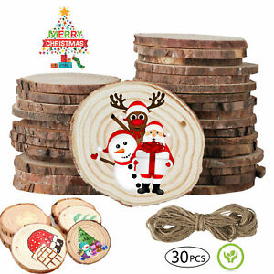 30Pcs Unfinished Natural Wood Slices Pieces Christmas Tree Ornaments DIY Craft $13.98