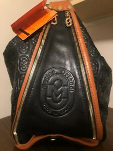 Marino Orlandi Italian Designer Black Leather Oversized Bucket Bag