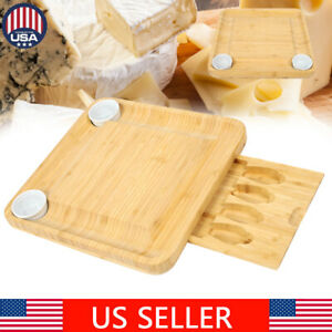 Bamboo Cheese Board & Tableware Set Wooden Charcuterie Meat Cutting Serving Tray