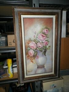 VINTAGE OIL PAINTING SOFT PINK ROSES IN PITCHER FRAMED 31quot;