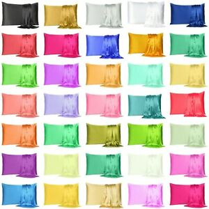 Satin Silk Pillowcase Pillow Case Cover King Queen Standard Cushion Cover New $6.99