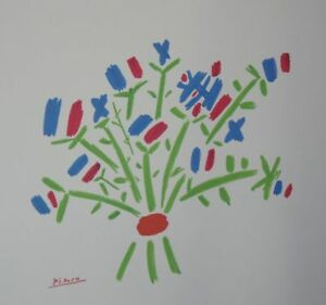PABLO PICASSO PETIT BOUQUET SIGNED AUTHENTIC FRENCH LITHOGRAPH RARISSIMO COA