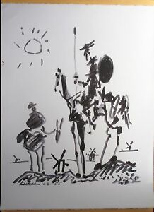 PABLO PICASSO DON QUIXOTE SIGNED AND DATED ORIGINAL FRENCH LITHOGRAPH 50x65  COA