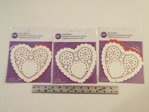 36 NEW-WILTON-VALENTINE'S DAY PAPER HEART DOILIES-3 PACKS-WHITE-RED-6 IN-TREATS*