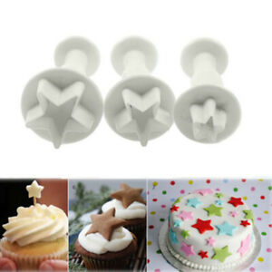 3Pc/Set Mini Star Fondant Cake Decorating Plunger Biscuit Cookies Cutter Mold