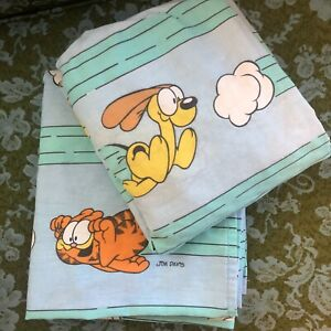 VTG Garfield Cat & Odie 1978 TWIN Flat Fitted Sheets Jim Davis Blue Stevens USA