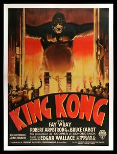 KING KONG ✯ CineMasterpieces RARE FRENCH ORIGINAL HORROR HUGE MOVIE POSTER 1933