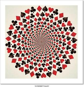 Card Suit. Playing Cards. Op Art/Canvas Print. Poster, Wall Art, Home Decor - C