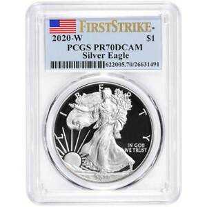 2020 W Proof $1 American Silver Eagle PCGS PR70DCAM First Strike Flag Label