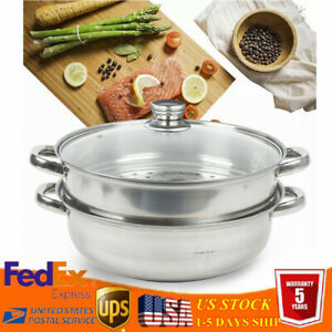 2 Tier Stainless Steamer 10.83 Basket Dim Sum Pasta Cooker work on stove tops