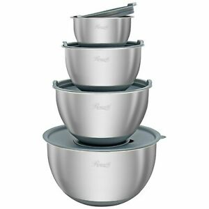 Stainless Steel Mixing Bowls 4-Piece Mixing Bowl Set with BPA Free Lids