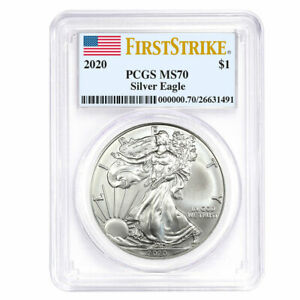 2020 $1 American Silver Eagle PCGS MS70 First Strike Flag Label