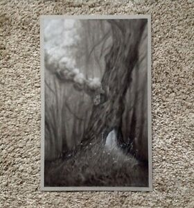 Randy Ortiz Original Pencil Charcoal Pastel Drawing Tree Smoke Chimney Forest $387.47