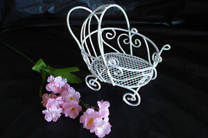 Mini Wire Baby Buggy - For Baby Shower Decorations - White - Item 1275W