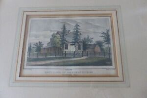 Original Currier Lithograph Birth Palce of President Hopkins 1860 Hand Colored $199.54