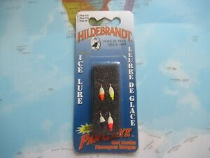 Hildebrandt Ice Lures Size #12 Glow Pan Cake Red Hooks 4 Pack Brand New
